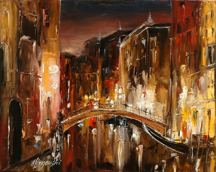 Marek Langowski - Polish Impressionist Landscapes painter - Venice by night - Tutt'Art@ (46)